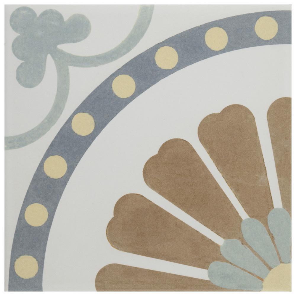 Merola Tile Revival Ring Encaustic 7-3/4 in. x 7-3/4 in. Ceramic Floor and Wall Tile