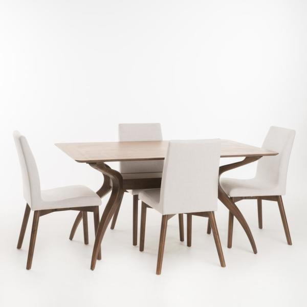 Orrin 5-Piece Light Beige and Natural Walnut Dining Set