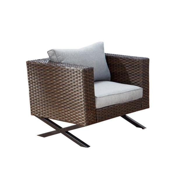 Wicker Outdoor Lounge Chair with Gray Cushion