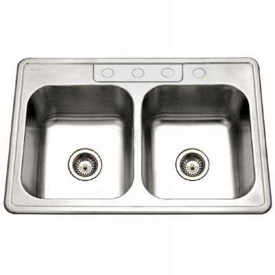 Glowtone Series Drop-In Stainless Steel 33 in. 4-Hole Double Basin Kitchen Sink