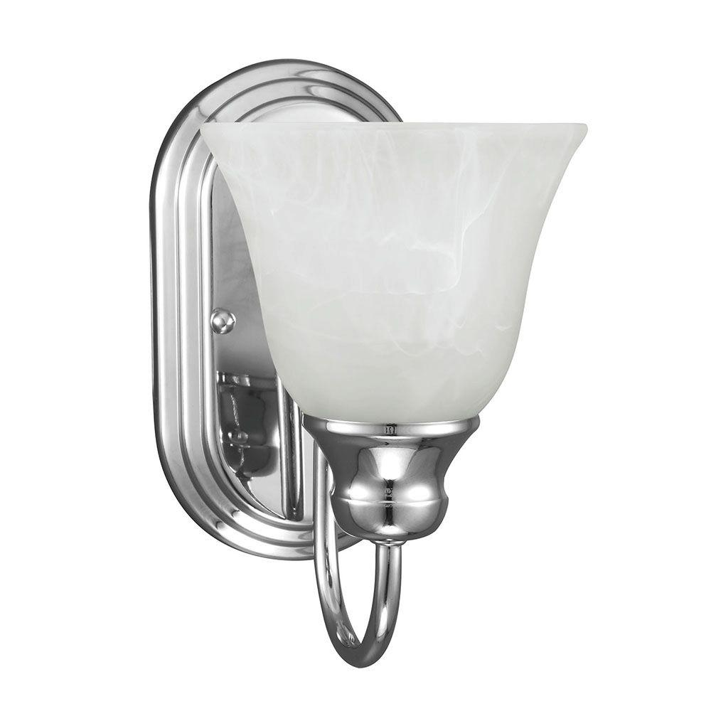 Windgate 1-Light Chrome Wall/Bath Sconce with White Alabaster Glass