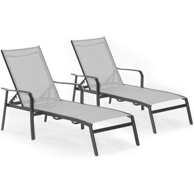 Foxhill 2-Piece All-Weather Commercial Rust-Free Aluminum Outdoor Chaise Lounge Chair Set with Sunbrella Sling Fabric
