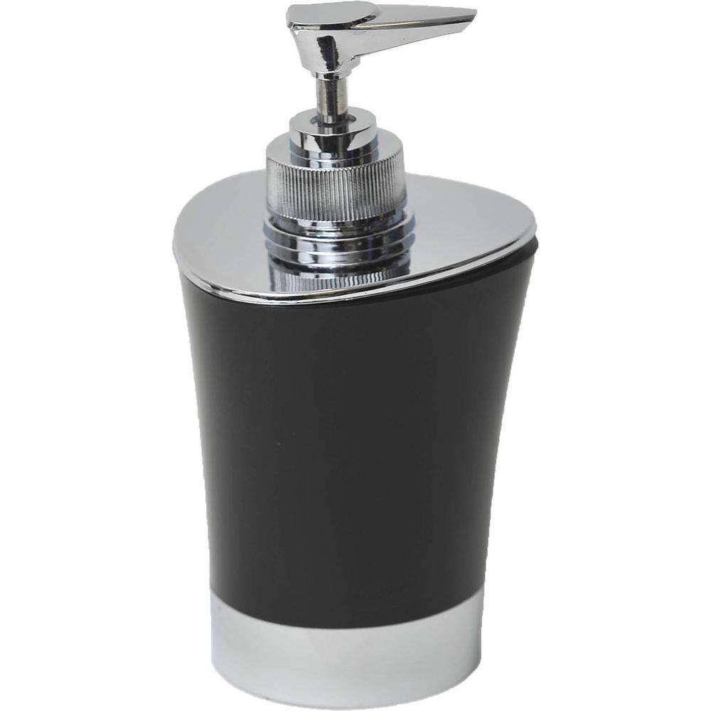 Bath Soap and Lotion Dispenser -Chrome Parts- Black