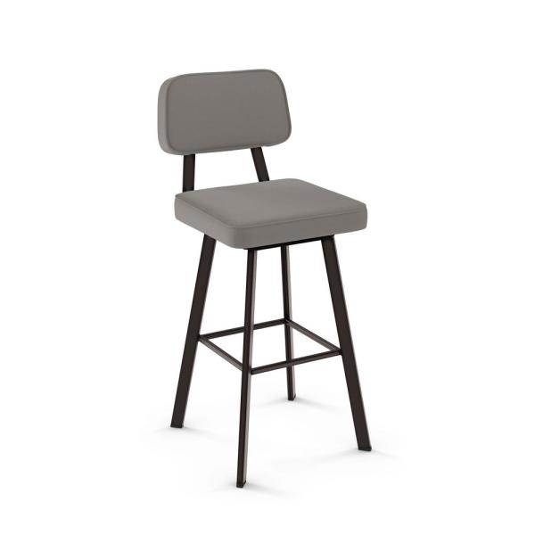 Clarkson 30 in. Taupe Grey Faux Leather / Dark Brown Metal Swivel Bar Stool