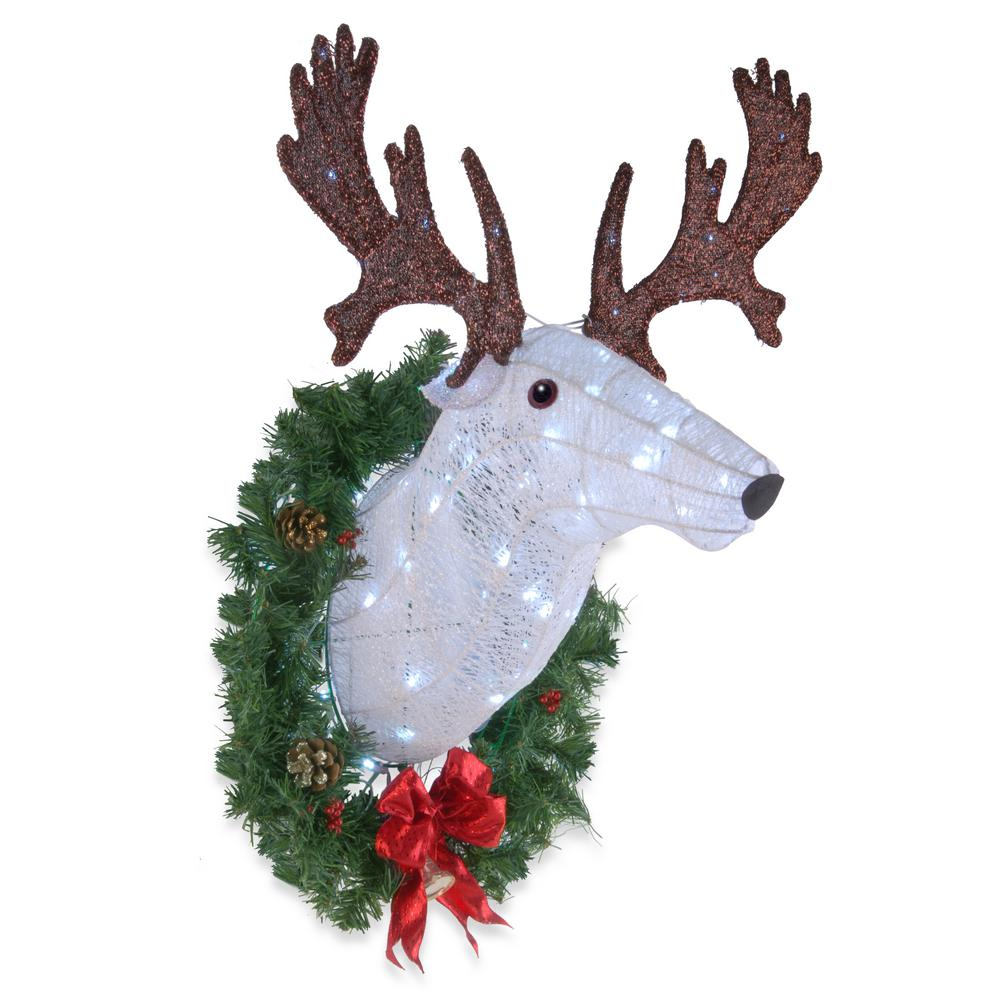 crystal coiling with white glittered moose head and wreath with