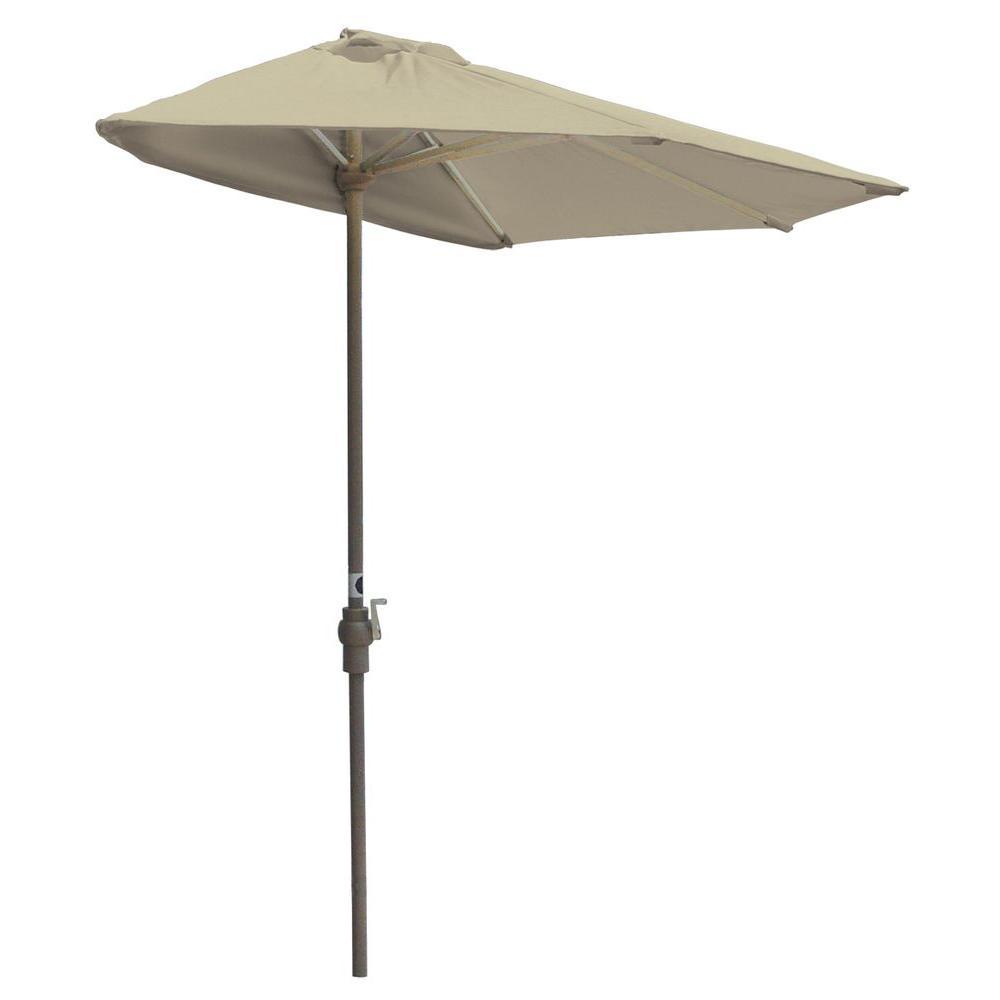 Off-The-Wall Brella 9 ft. Patio Half Umbrella in Antique Beige Sunbrella