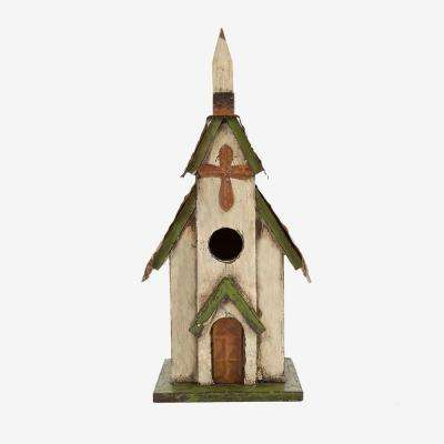 11.81 in. H Rustic Hand Painted Garden Wood Church Birdhouse with Metal Roof