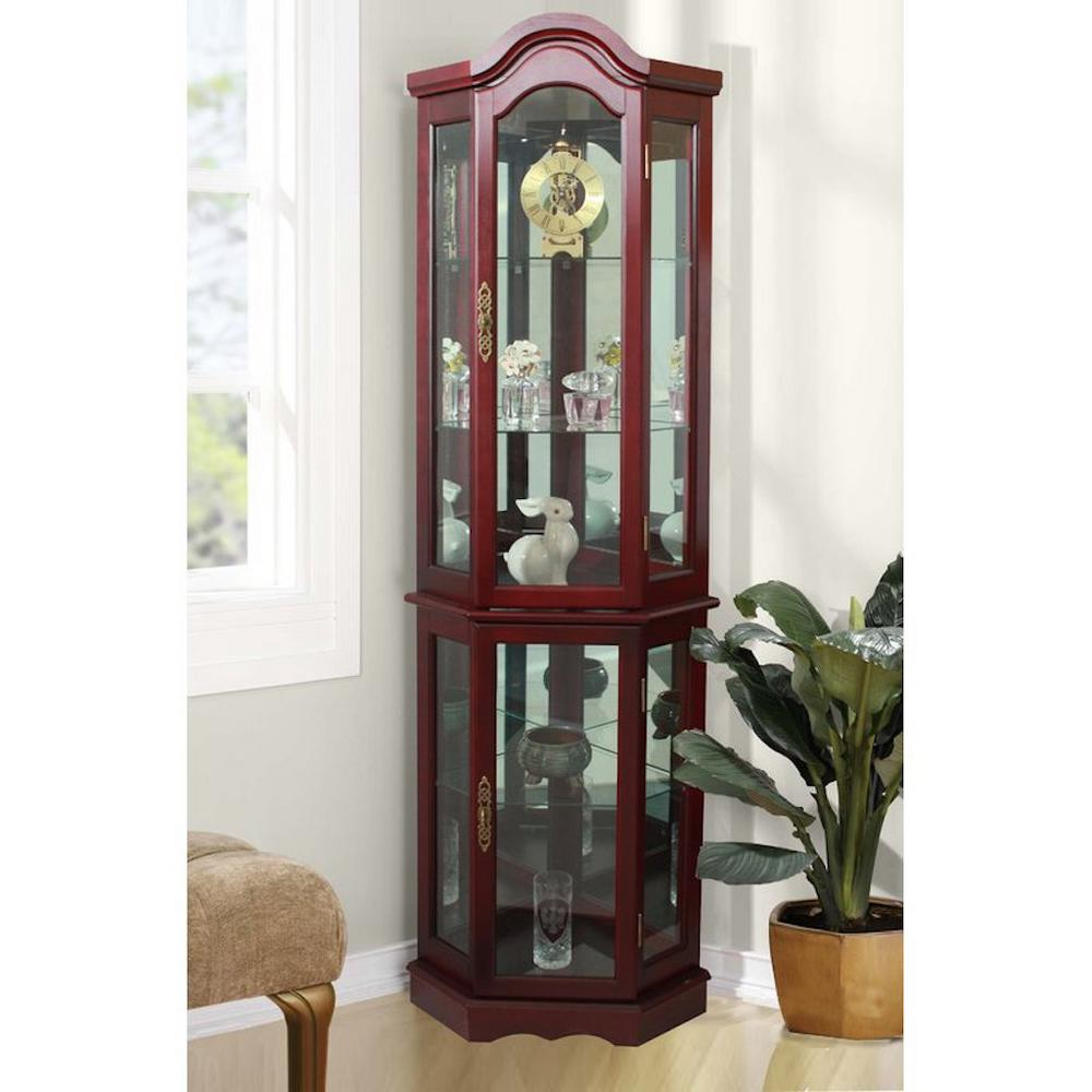 Cherry 5 Sided Lighted Curio Cabinet