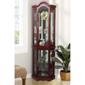 Floor Standing Cherry 5 Sided Lighted Curio Cabinet