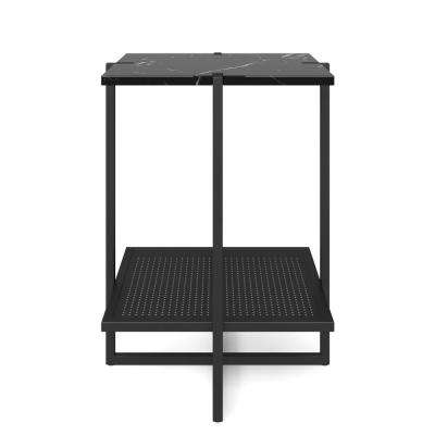 Myles Black Marble Top and Metal Base 2-Tier Modern Accent Table