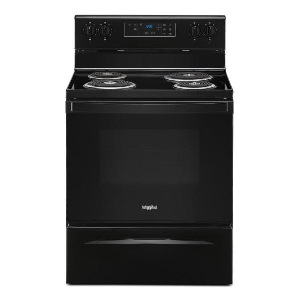 30 in. 4.8 cu. ft. 4-Burner Electric Range with Self-Cleaning in Black with Storage Drawer
