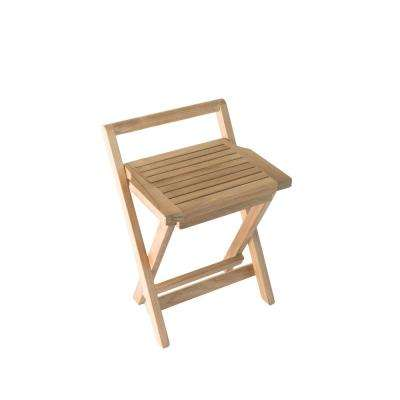 16 in. W Folding Bathroom Shower Seat with Handle in Natural Teak