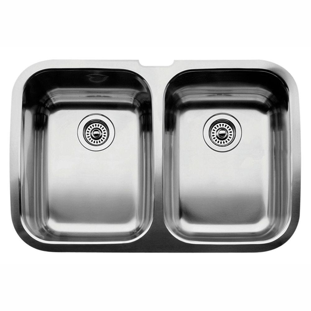 Blanco Supreme Undermount Stainless Steel 32 In. Equal Double Bowl Kitchen  Sink 440224   The Home Depot