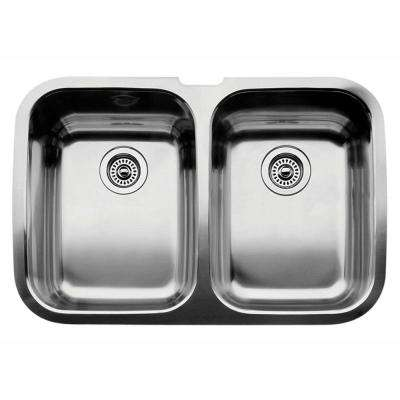 Supreme Undermount Stainless Steel 32 in. Equal Double Bowl Kitchen Sink