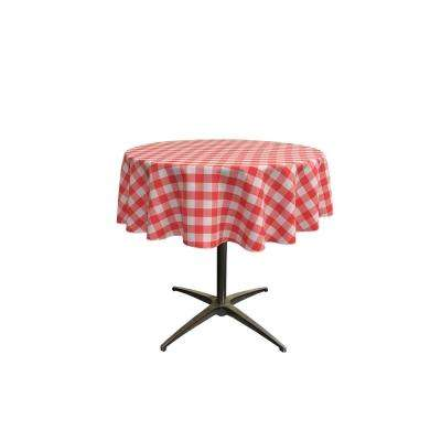 51 in. White and Coral Polyester Gingham Checkered Round Tablecloth