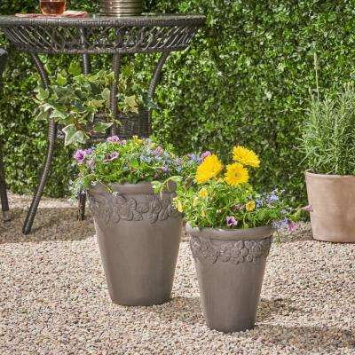Alba 8.5 in. x 8.5 in. Antique Grey Concrete Outdoor Garden Planter Pots wth Floral Accents (2-Pack)