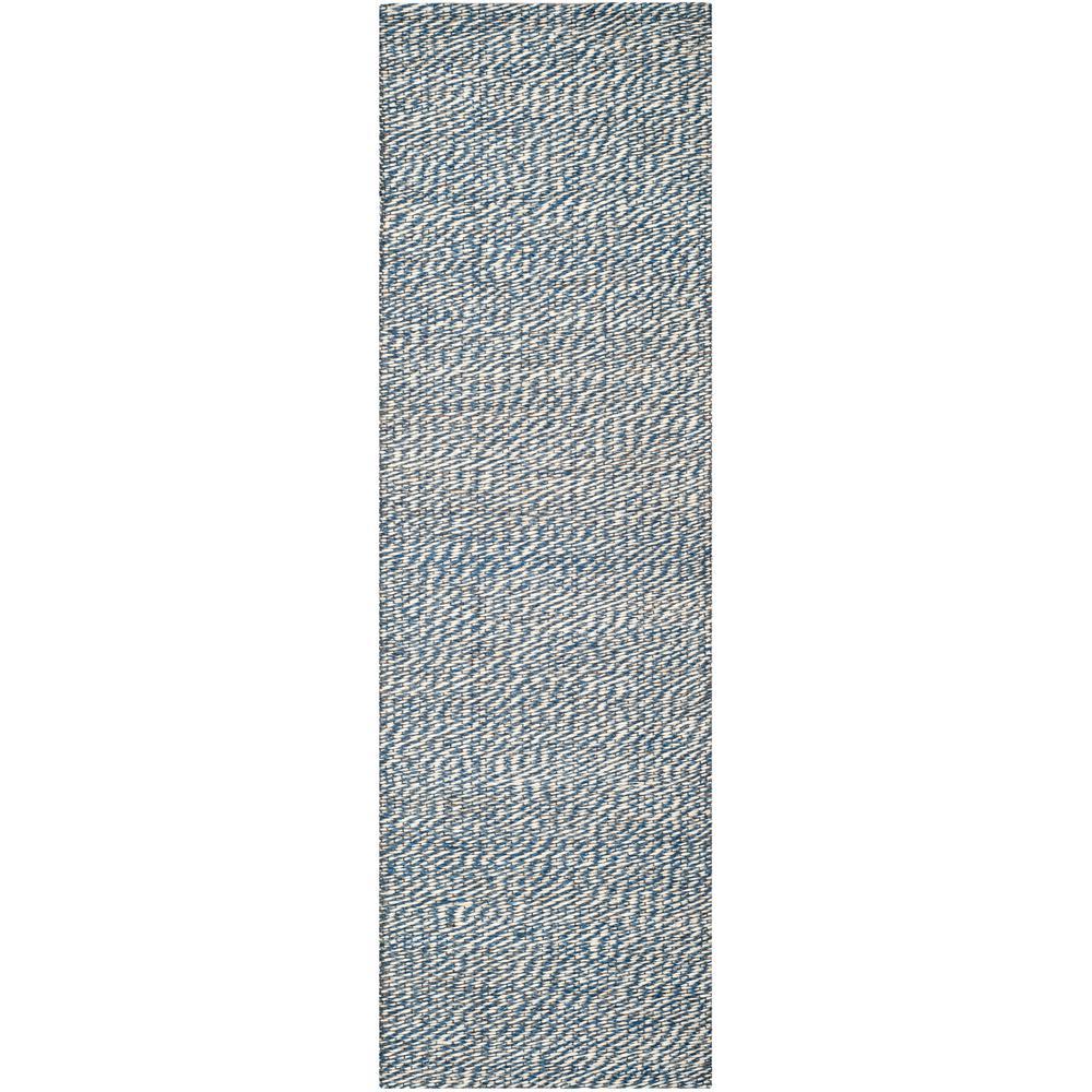Natural Fiber Blue/Ivory 2 ft. 6 in. x 12 ft. Runner