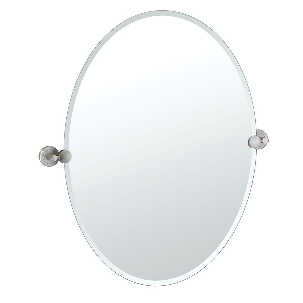 Gatco Latitude II 27 in. x 23 in. Beveled Oval Single Mirror in Satin Nickel