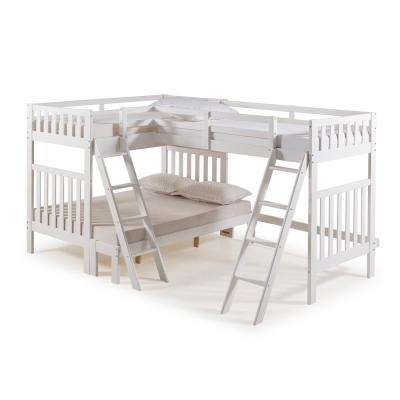 Aurora White Twin Over Full Bunk Bed with Tri-Bunk Extension