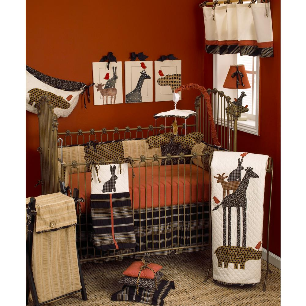 Animal Stacker's Jungle Red 4-Piece Crib Bedding Set