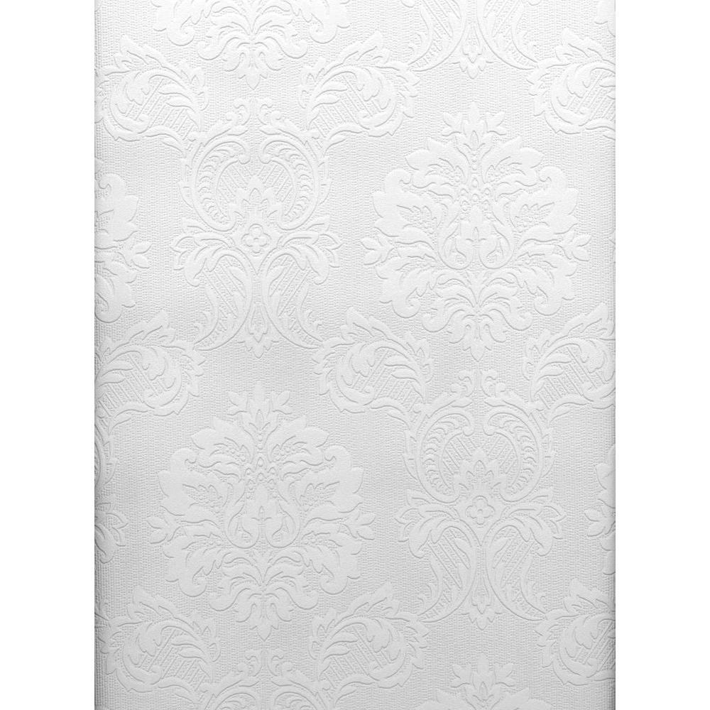 Brewster Damascene Regal Print Paintable Wallpaper