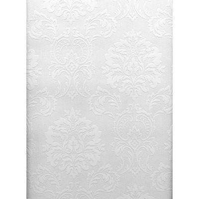 Paintable Damascene Regal Print White & Off-White Wallpaper Sample