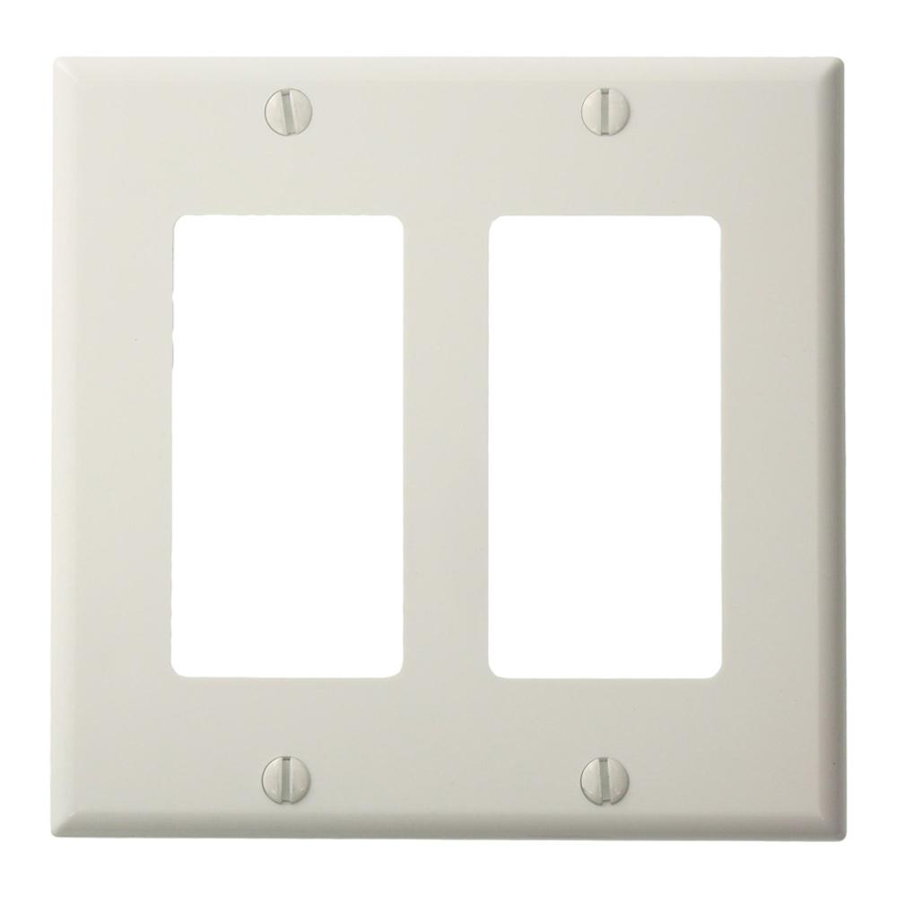 Leviton 2 Gang Decora Nylon Wall Plate White 80409 Nw The Home Depot 15 Amp 4way Switch Whiter58056042ws