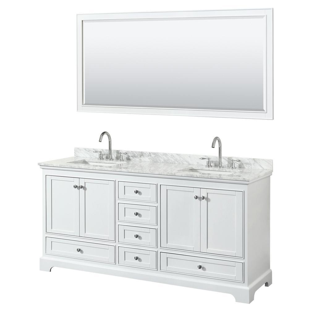 Deborah 72 in. Double Vanity in White with Marble Vanity Top in White Carrara with White Basins and 70 in. Mirror