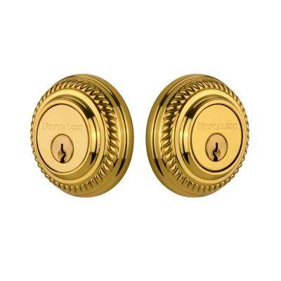 Rope Rosette 2-3/4 in. Polished Brass Backset Double Cylder Deadbolt