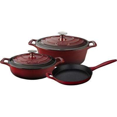 PRO 5-Piece Enameled Cast Iron Cookware Set with Saute, Skillet and Oval Casserole in Ruby