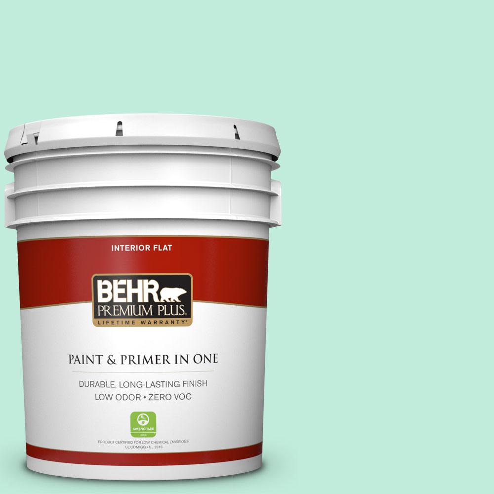 BEHR Premium Plus 5-gal. #470A-2 Seafoam Pearl Zero VOC Flat Interior Paint