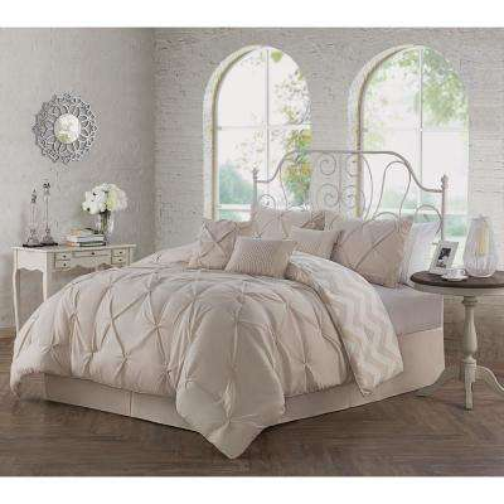 Ella Pinch Pleat 7-Piece Taupe Queen Comforter