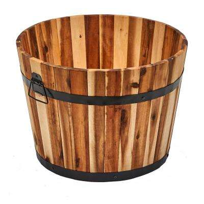 18 in. Nested Wood Barrel Planter