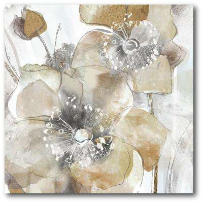 "30 in. x 30 in. ""Taupe Spring Poppy I"" Canvas Wall Art"