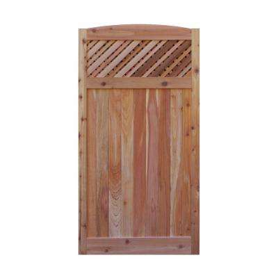 3 ft. x 6 ft. Western Red Cedar Arch Top Supreme Lattice Fence Gate