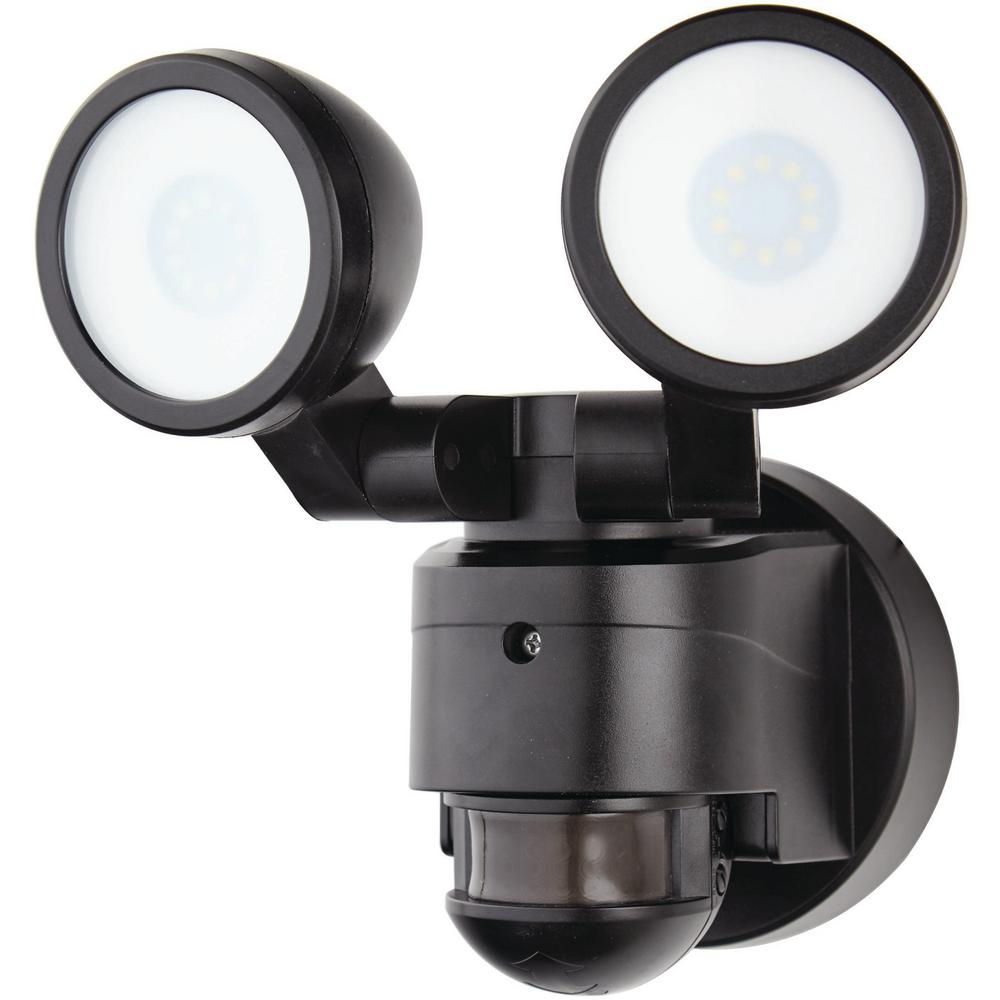 Defiant 180 Degree Black Motion Activated Integrated LED Twin Flood Light