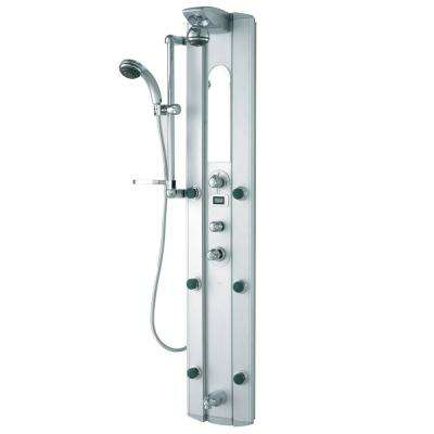 Satin 6-Jet Shower Panel System in Stainless Steel (Valve Included)