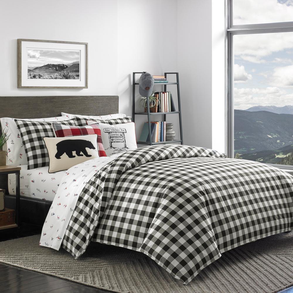 Mountain 3-Piece Black Plaid Cotton Full/Queen Comforter Set