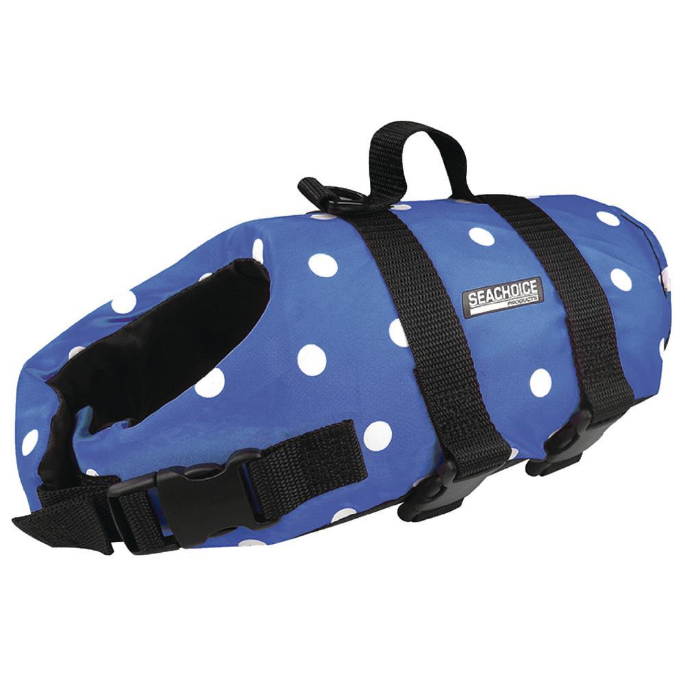 X-Smal Size Dog Life Vest, Blue Polka Dot