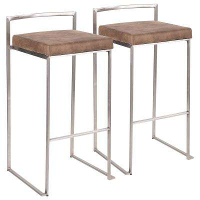 Fuji 30 in. Stainless Steel Bar Stool with Brown Cowboy Cushion (Set of 2)