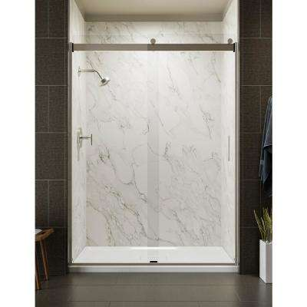 Levity 59.625 in. W x 82 in. H Frameless Sliding Shower Door in Brushed Nickel