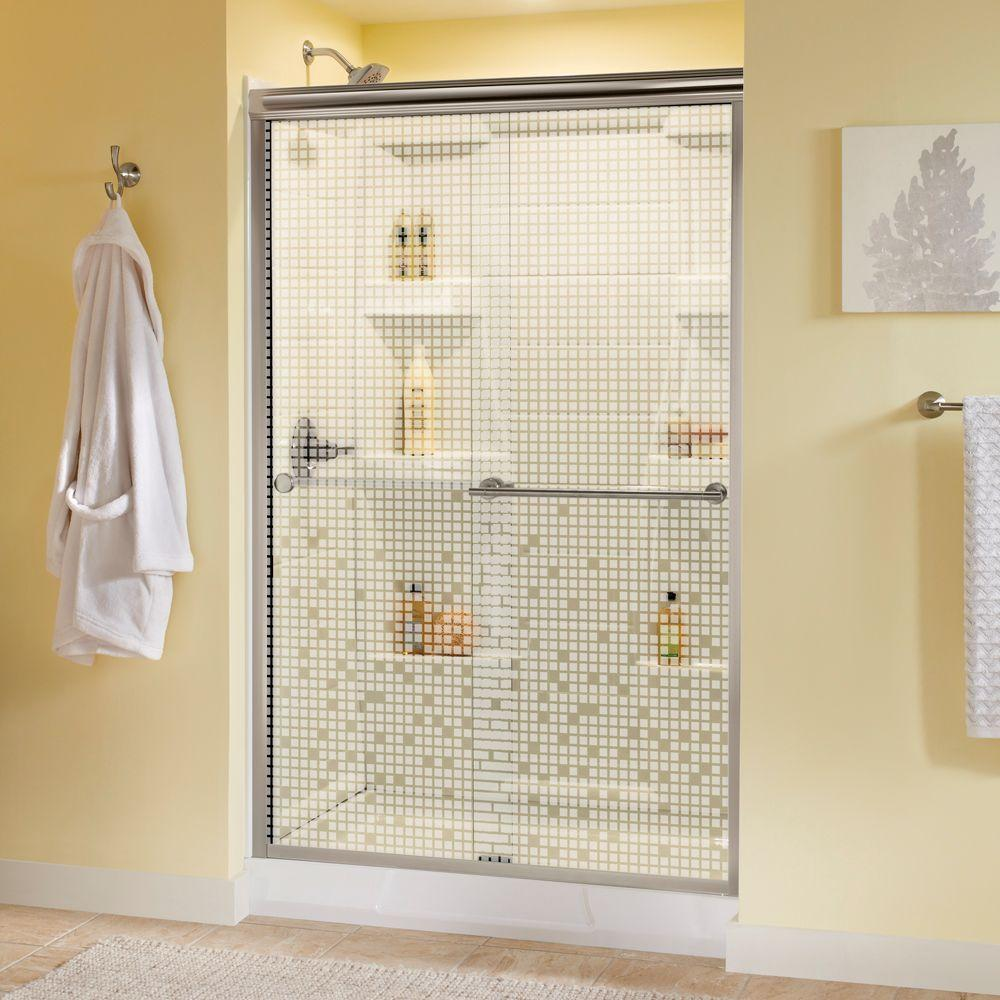 Delta Panache 47-3/8 in. x 70 in. Semi-Framed Bypass Sliding Shower Door in Brushed Nickel with Mozaic Glass