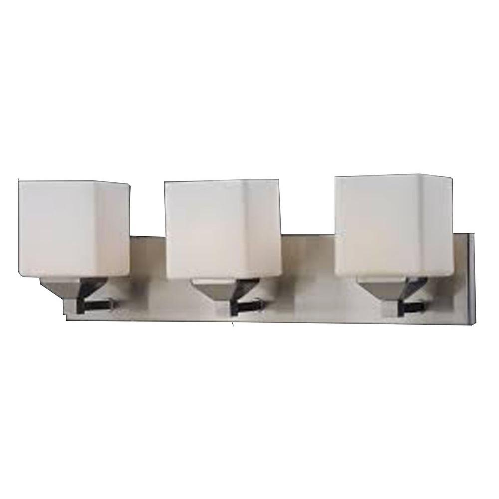 Polly 3-Light Brushed Nickel Bath Vanity Light with Matte Opal Glass