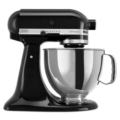 Artisan 5 Qt. 10-Speed Onyx Black Stand Mixer with Flat Beater, 6-Wire Whip and Dough Hook Attachments