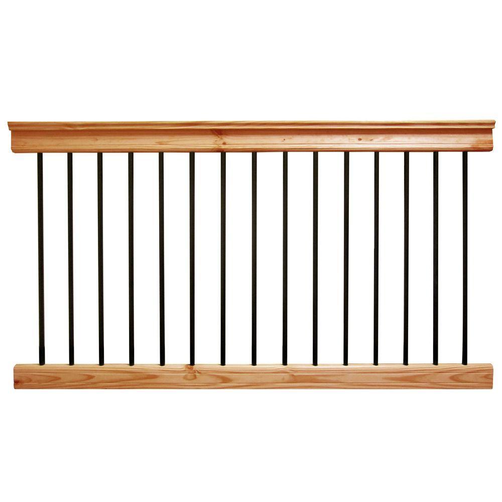 6 ft. Aluminum Cedar-Tone Southern Yellow Pine Deck Railing Kit