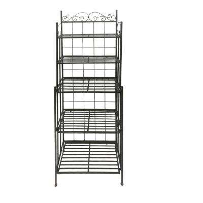 Black Five Tier Storage Metal Bakers Rack with Scroll Work Accents