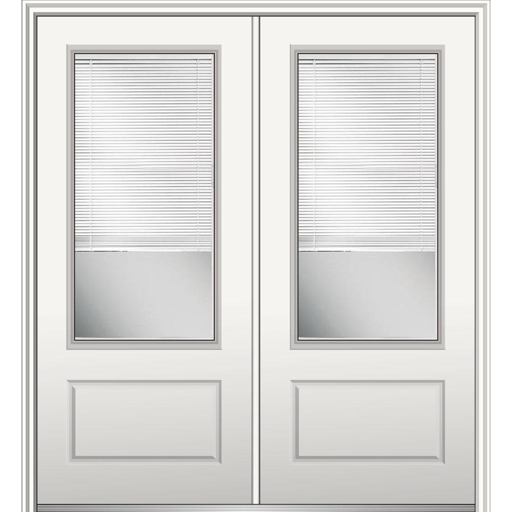 72 in. x 80 in. Clear Glass with Internal Blinds Left-Hand