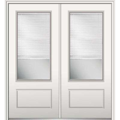 72 in. x 80 in. Internal Blinds Left-Hand Inswing 3/4-Lite 1-Panel Clear Primed Fiberglass Smooth Prehung Front Door