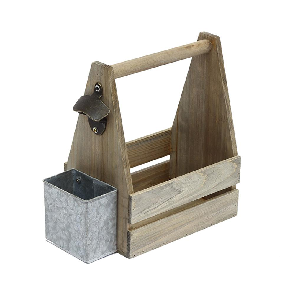 9 in. x 6 in. x 11 in. Crate Beverage Caddy in Weathered ...