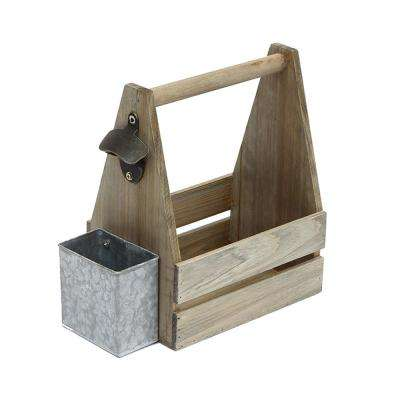 9 in. x 6 in. x 11 in. Crate Beverage Caddy in Weathered Gray